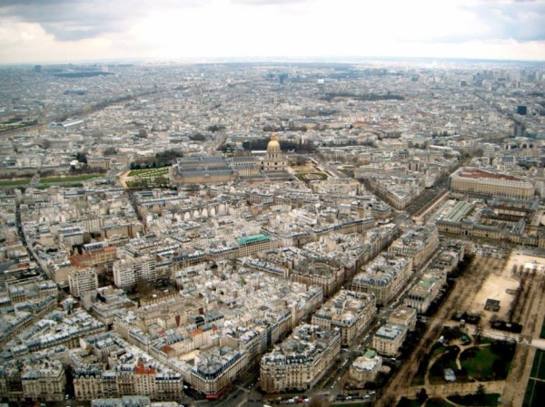 View across Paris, from the top of the Eiffel Tower