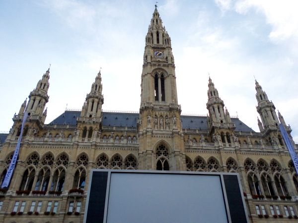 Big screen set up for the Vienna Film Festival in front of the Rathaus