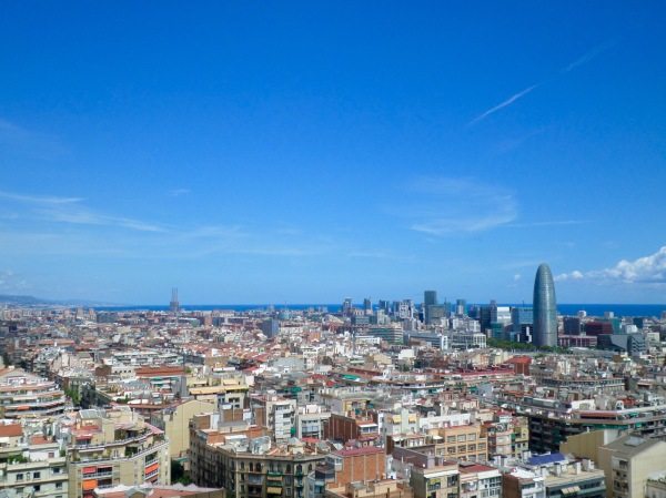 View over Barcelona from the tower of the Sagrada Familia